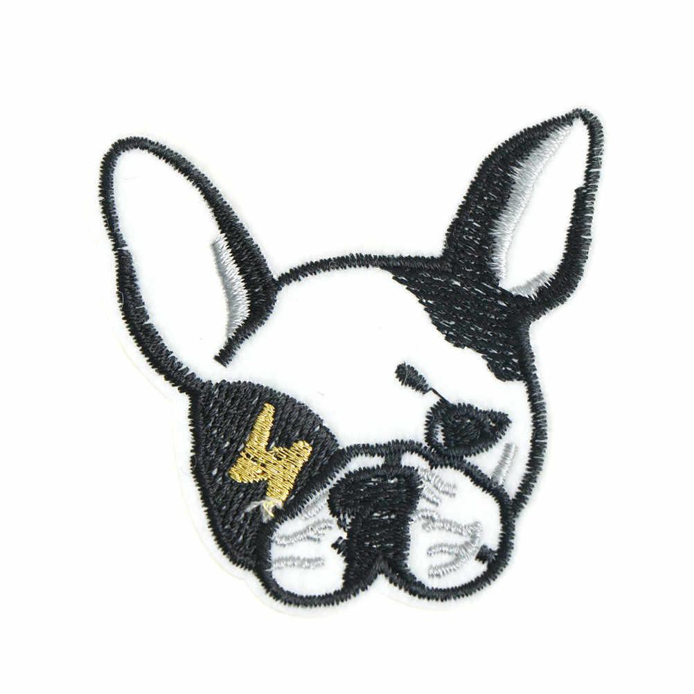 Kawaii Bulldog Francês com Gravata borboleta De Seda/Cabeça/Vidros Do Coração Do Cão Bulldog Broche Patch Emblema Bordado Patch de Tecido amantes