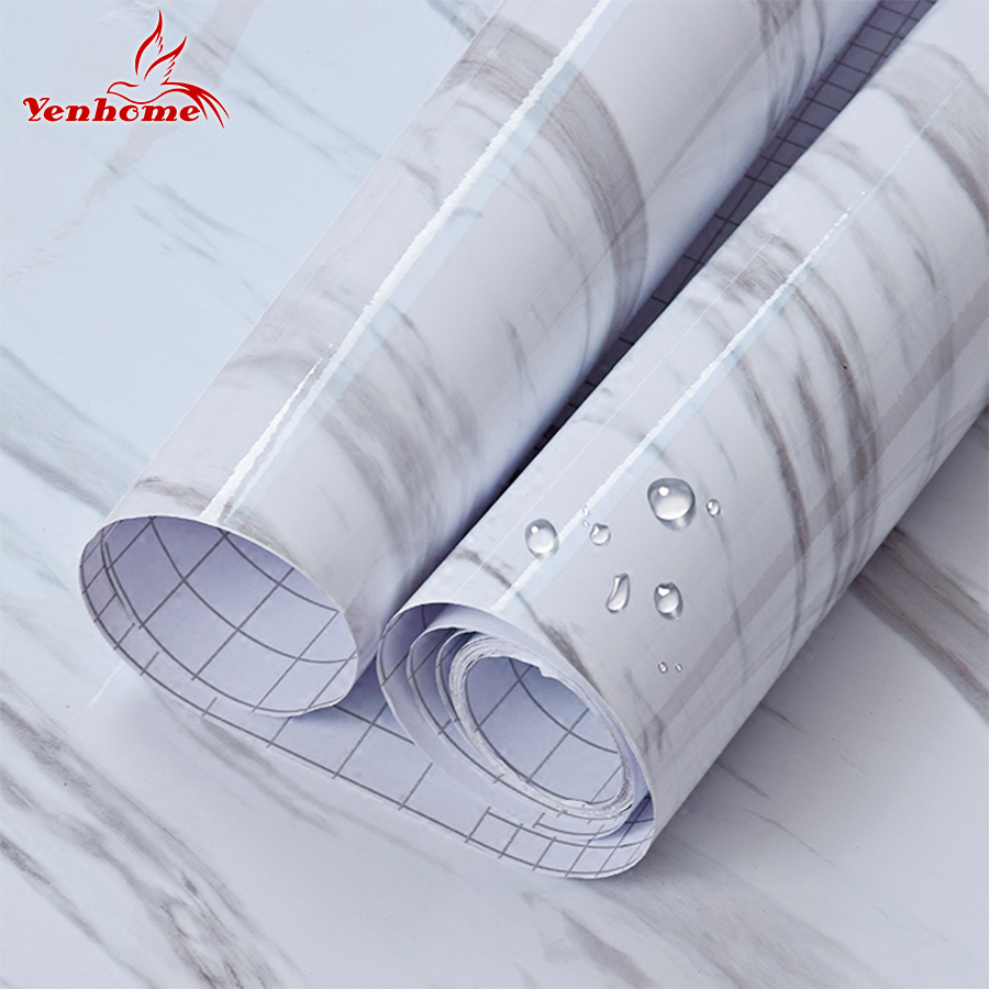 Order 5 Meter 60cm X 5meters Marble Vinyl Self Adhesive Wallpaper For Kitchen Cupboard Modern Wall Contact Paper Pvc