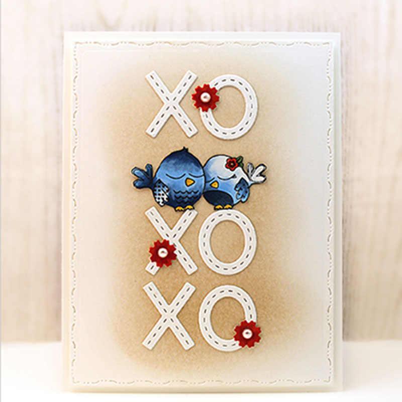 QWELL XOXO sembolü ve kalp sınır Metal kesme ölür Scrapbooking ve kart yapımı için kağıt kabartma zanaat yeni 2019 die kesim