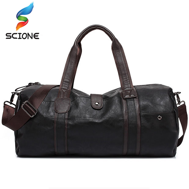 Hot Men's Large Capacity PU Leather Sports Bag Gym Bag Fitness Sport Bags Travel Shoulder Handbag Male Bag Black Brown