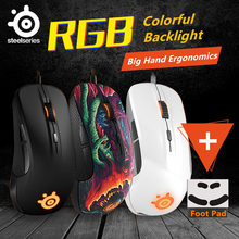 Mouse Gaming SteelSeries Rival 300/300S Mouse Optik LED Ergonomi Merek Aksesoris Komputer Mouse Gamer + 1 Set mouseskate(China)