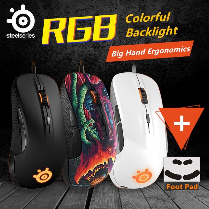 Souris de jeu Steelseries RIVAL 300/300 S souris optique LED ergonomie marque ordinateur accessoires souris gamer + 1 Set Mouseskate