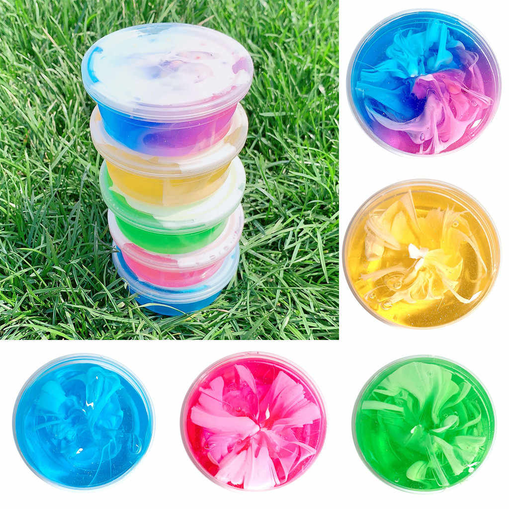 Children's Beautiful Rainbow Cloud Mud Cement Relief 60ml Kids Funny Toy Gift 60ml Rainbow Cloud Slime Toy Mud 2019 new