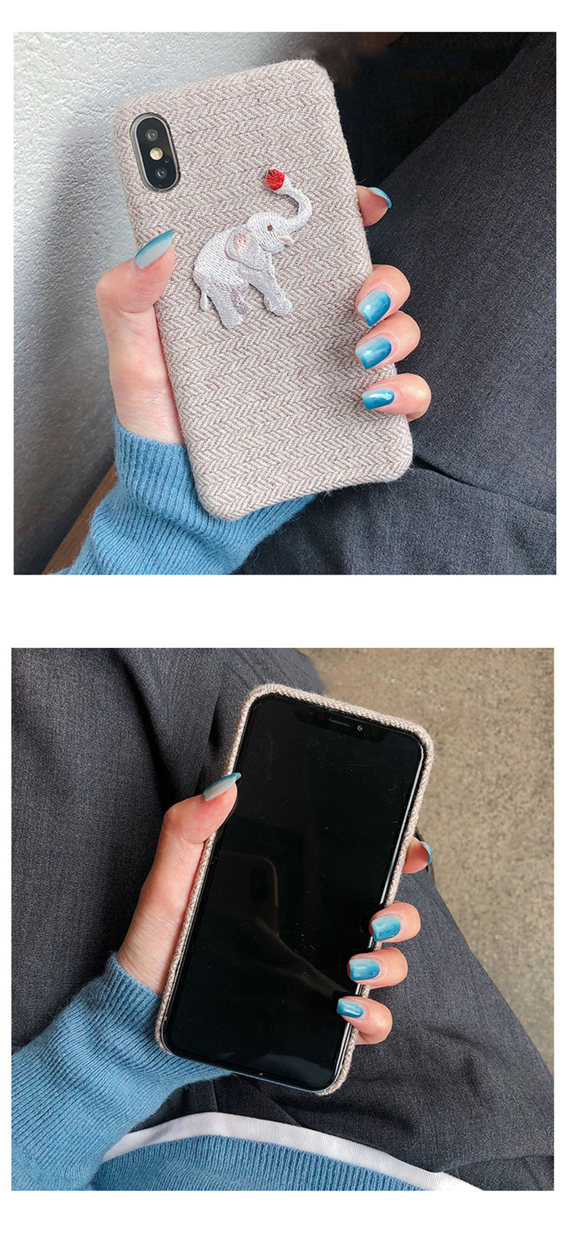 Cute Embroidered Elephant Phone Case For iPhone - Photo 2