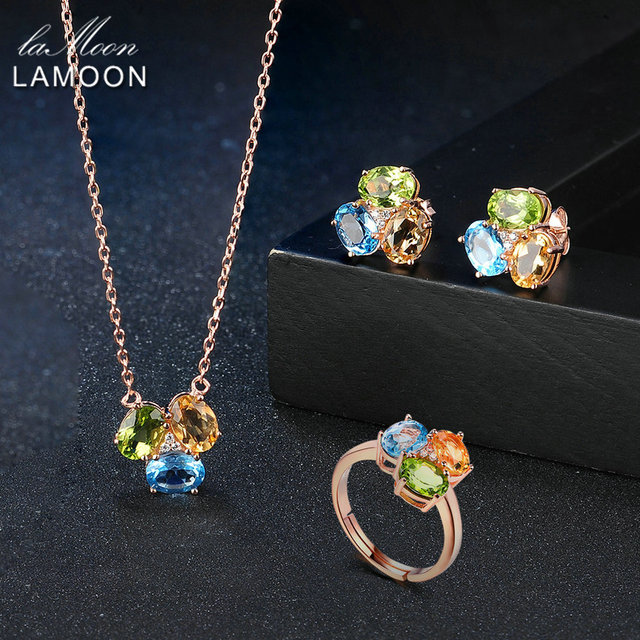 LAMOON 100% 925 Sterling Silver  Jewelry Sets For Women Natural Citrine Peridot Topaz S925 Fine Jewelry For Women V003 2