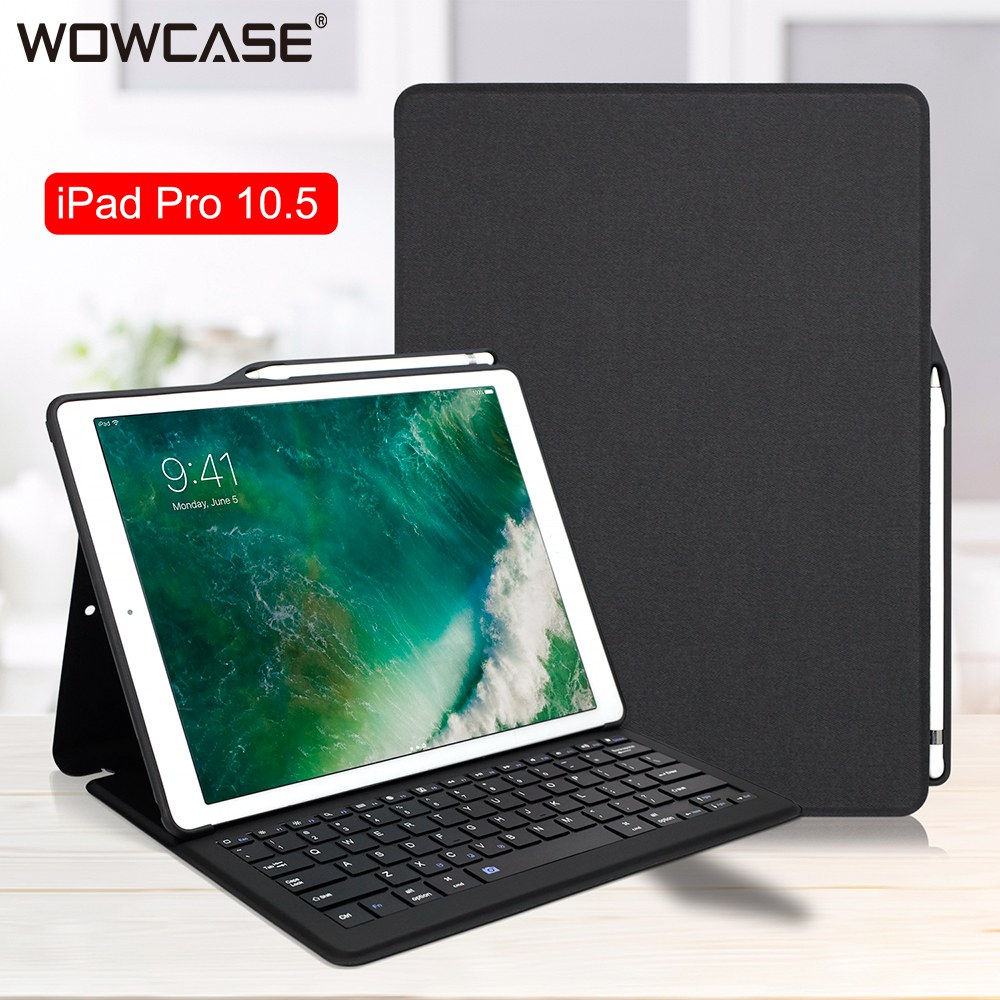 цена For iPad Pro 10.5 Case Bluethooh Keyboard Smart Sleep Folio Stand Cover Pencil Holder Cases For iPad Pro 10.5 A1701 A1709 A1852