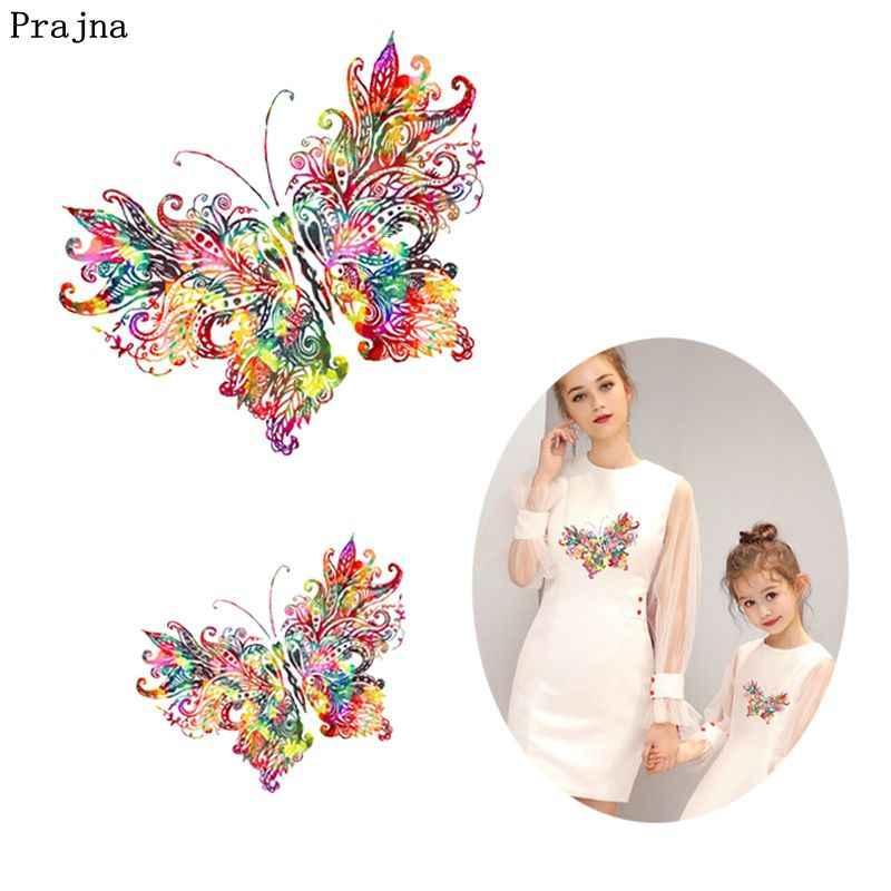 Prajna/2 шт., наклейки для девочек с изображением единорога, бабочки, утюга на тепло, Мультяшные машинки, цветы, железные нашивки для одежды, футболки