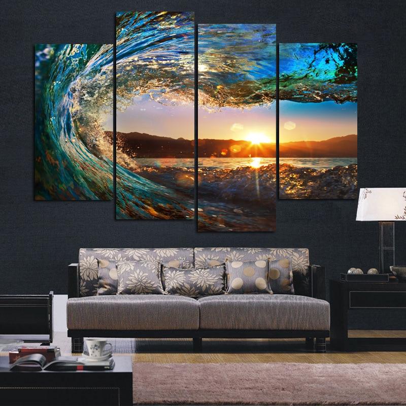 ᗛ4 panel mar olas paisaje pared arte imágenes impresión en lienzo ...