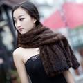 CD015 2014 Fashion Warm Knitted Genuine Mink Fur Hair Long Winter Scarf Women Hot Sale Popular