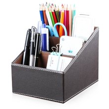 imitation Leather remote control storage box  fashion desktop gift three grid large capacity