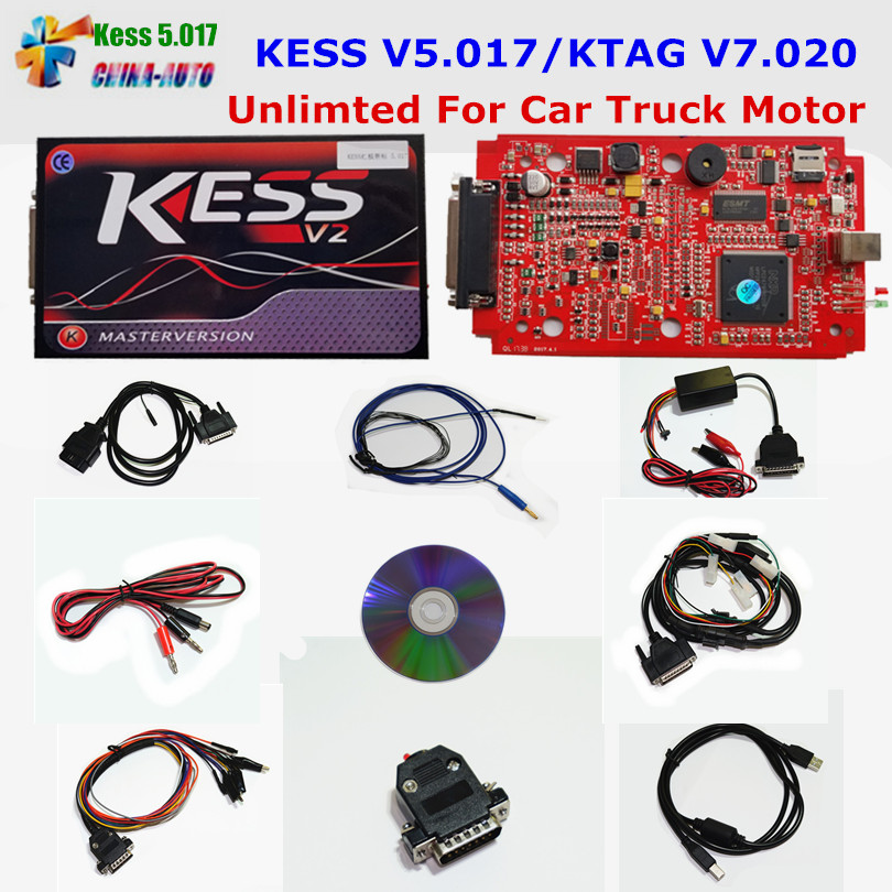 Online EU Red KESS V5.017 KESS V2 5.017 No Token KTAG V7.020 OBD2 Manager Tuning Kit K-TAG 7.020 V2.23 Car Truck ECU Programmer 2017 online ktag v7 020 kess v2 v5 017 v2 23 no token limit k tag 7 020 7020 chip tuning kess 5 017 k tag ecu programming tool
