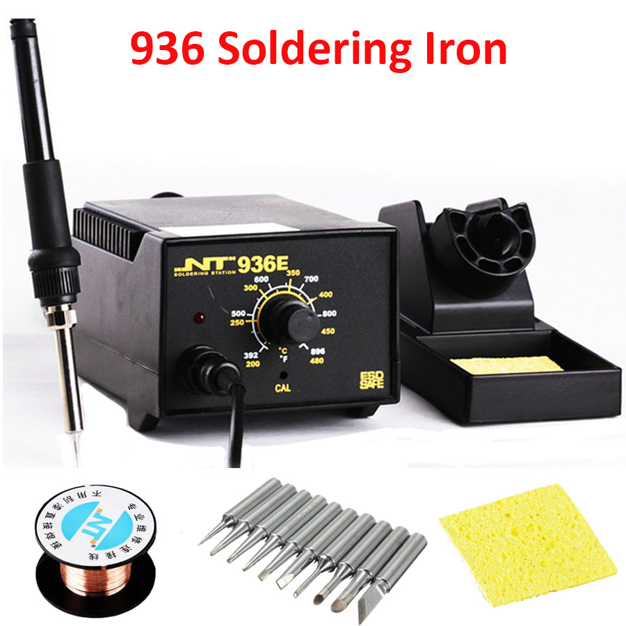 936 Adjustable soldering solder iron station Electric iron110V/220V + solder iron tips bit lead +soldering tin wire+gifts 936 soldering station 220v 60 65w electric soldering iron for solder adjustable machine make seals tin wire solder tip