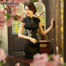 2019 Hot Chinese Black Women Traditional Dress Silk Satin Qipao Top Mini Cheongsam Lace Short sleeve qipao dresses сборник купи – продай анекдоты про торговцев