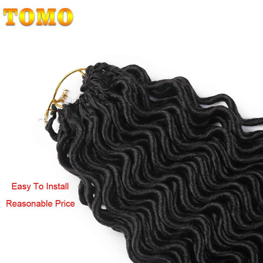 TOMO 18 pulgadas Faux Locs Curly Crochet extensión de cabello sintético trenzado cabello 24 raíces Ombre Crochet trenzas diosa Locs Rubio color