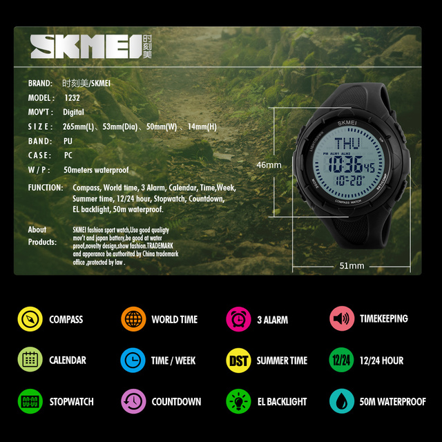 Skmei Mens Digital Watches Men Militry Sports Watch Compass World Time Clock Climbing Wristwatch Relogio Masculino montre homme