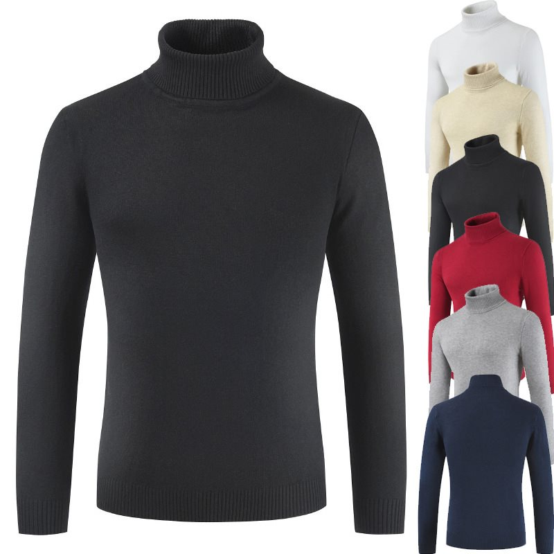 2019 New Brand Autumn Winter Men's Sweater Turtleneck Solid Color Casual Top Clothes Male Slim Fit Knitted Fashion Pullovers