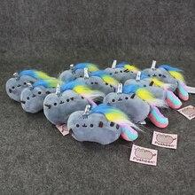 10pcs lot 12cm Kawaii Cute Pusheen Cat Rainbow keychain keyring Movie Plush stuffed Toys Free Shipping