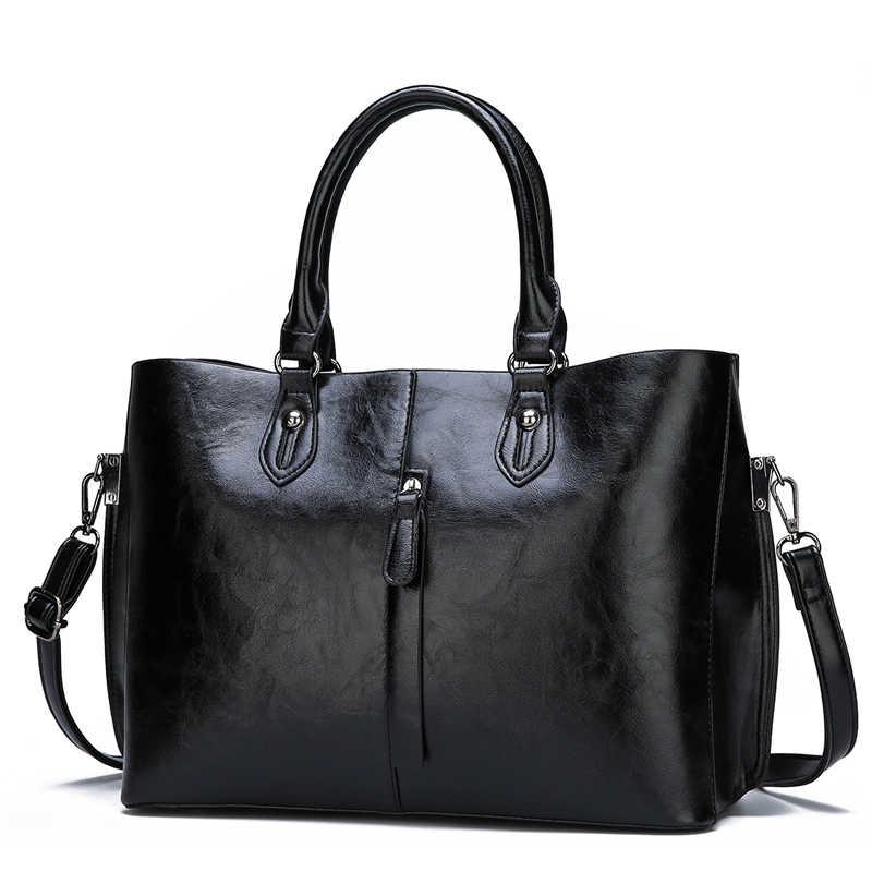 Kelas Tinggi Minyak Lilin Kulit Dua Set Komposit Tas Tas Wanita Fashion Baru Kualitas Tinggi Kasual Liar Bahu tas Messenger