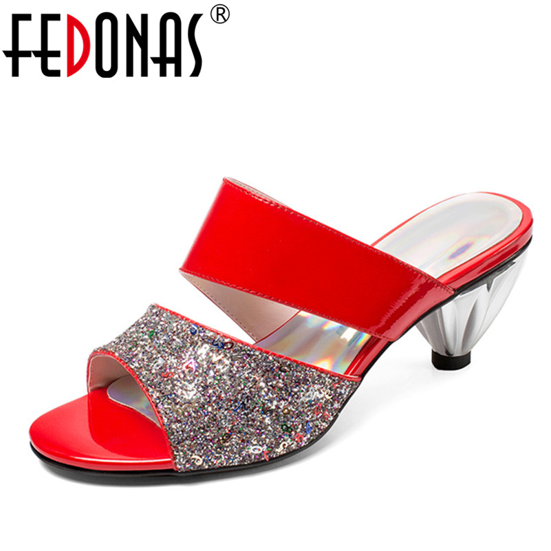 FEDONAS Women Sandals 2018 Sping Summer Peep Toe High Heels Hollow Gladiator Sandalias Rhinestone Crystal Shoes Woman
