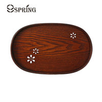 Japanese Style Oval Shape Wood Serving Trays Handcrafted Engraving Wooden Plate Tea Tray Tableware For Serving