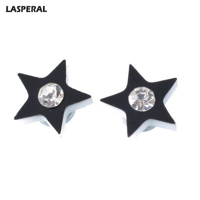 Lasperal 1pair Women Men Earrings Rhinestone Inlaid Black Star Magnetic Stud Trendy Jewelry Gifts