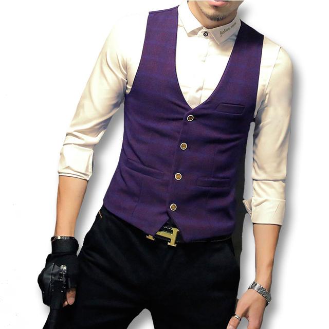 2016 Novos Blazers e Jaquetas Hombre Vestir Coletes À Prova de Terno dos homens Homens Moda Casual Slim Fit Blazers Sem Mangas Veste De Loisir Blazer