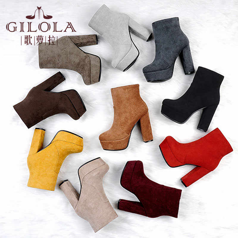 High Heels Platform Women Boots Fashion Autumn Winter Thick Heels Ankle Pointed Toe Women Shoes Woman #Y0052543Y