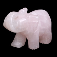 Ddh001443 Natural Tumbled Rose Quartz Carved Elephant Crystal Healing Crafts
