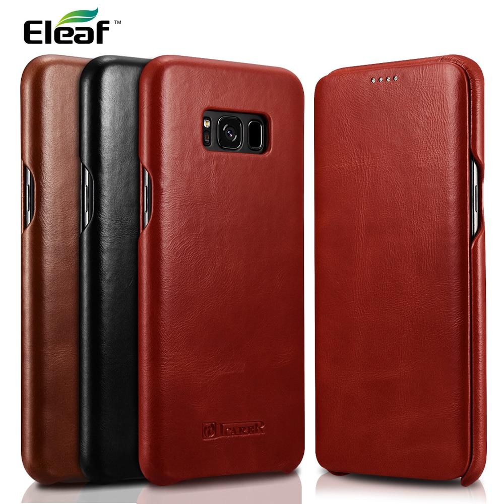 imágenes para ICARER para Galaxy S 8 S8 más Bolsa de Cuero Borde Curvo Estilo Retro de Cuero Genuino Cubierta Del Teléfono para Samsung Galaxy S8 G950 cubierta