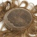 6.25x8.25 Дюймов Блондинка Парик Для Мужчин Европейские Волосы Системы швейцарский Шнурок С PU Вокруг 120% Плотность Acessorio Para Cabelo H060