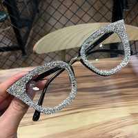 2019 Vintage montura De gafas De Ojos De gato retro marca femenina Gafas De Sol plata oro gafas De ojo liso Gafas