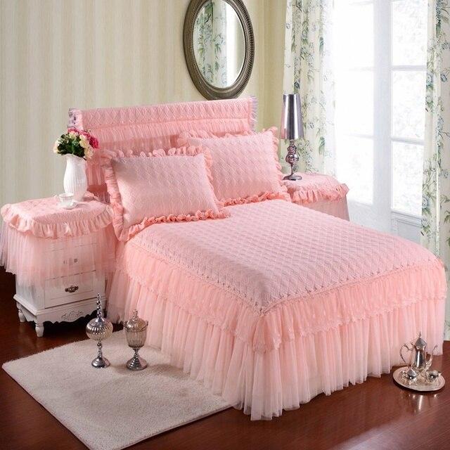 100% Хлопок Принцесса Кружева комплект Постельных Принадлежностей Кровать юбка Наволочки Розовый Bege Король/Королева/Полный размер 3 Шт. Простыня для Девочек Подарки
