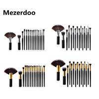 15pcs High End Gold Silver Tube Makeup Brushes Mixed Gray Premium Hair Fan Brush Foundation Powder