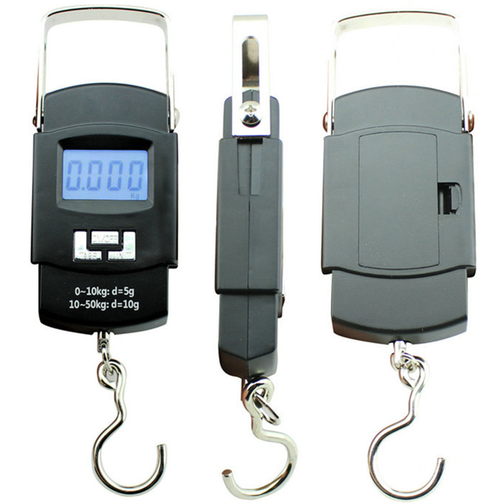 Portable 50kg/10g Electronics Weight Scale LCD Digital Hanging Scale Hook Luggage Scale
