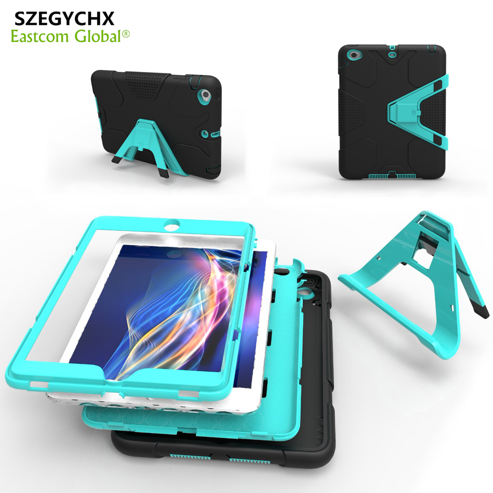 SZEGYCHX Tablet Case For iPad Air 2 EVA Heavy Duty Shockproof Hybrid Rubber Rugged Hard Protective Skin Safe Shell Cover Case for new ipad 9 7 inch 2017 kickstand case heavy duty shockproof rugged armor three layer hard pc silicone full body protective