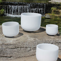 Size 7 13 Chakra Tuned Set Of 7 Frosted Quartz Crystal Singing Bowls With 7 Note