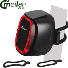 Фотография Meilan X6 waterproof Smart Bicycle Rear Light Bike Cycling Tail Lamp 16 LED USB Rechargeable Lantern 7 Modes Cmeilan X6