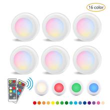 RGBW 16 Colors LED Closet Lights Puck Wireless Dimmable Kitchen Under Cabinet Lighting Battery Powered Night