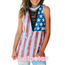 2018 Women Casual Blouses Print American Flag Sleeveless Round Neck Ladies Tops Summer Laipelar
