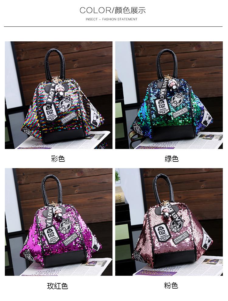 backpack women Fashion Women Bling Shiny Sequins Sparkling Shoulder Bags Larger Capacity Drawstring Bag backpack 71