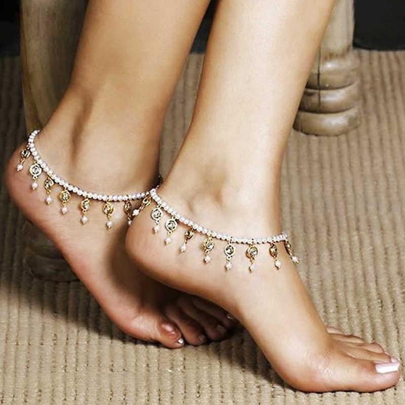 2019 novo boêmio tornozelo corrente grânulo tornozelo pulseira para as mulheres na perna moda pérola praia jóias borlas tornozeleiras perna corrente