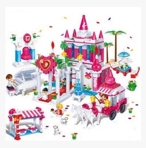 BB Model Compatible with BB6108 1128Pcs Pink Castle Models Building Kits Blocks Toys Hobby Hobbies For