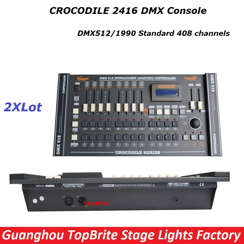 high quality 2pcs lot dmx computer controller crocodile 2416 dmx console professional led par dj. Black Bedroom Furniture Sets. Home Design Ideas