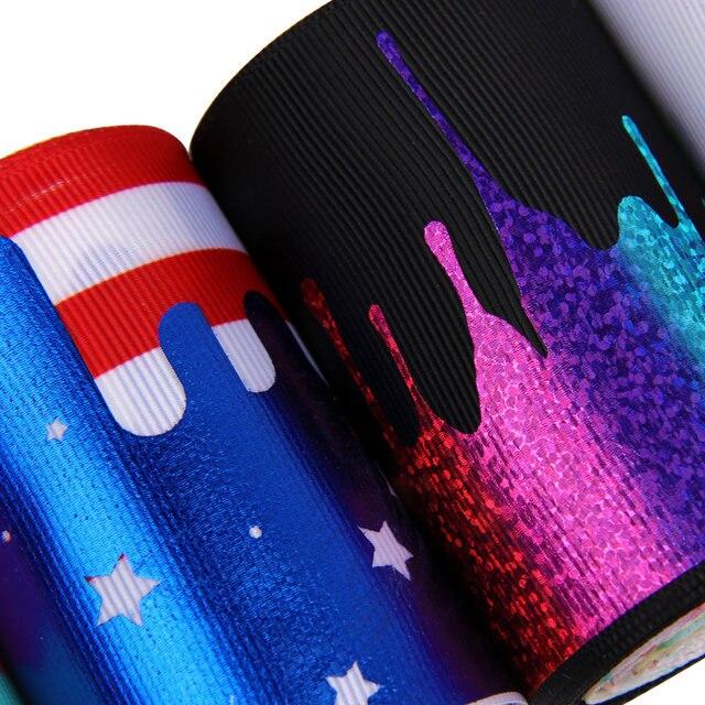 JOJO-nœuds de cheveux 75mm 2y   Ruban en gros-grain crème avec étoiles à rayures, ruban bronzant imprimé pour artisanat fait à la main, emballage de carte cadeau, bricolage