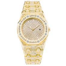 Gelb Gold Ton Männer Kleid Uhren Bling Diamant Quarz herren Business Uhr Wasserdichte Edelstahl Mode Männlichen Uhr XFCS