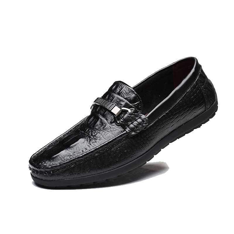 Crocodilo Mocassins Sapatos Da Europeu Fresco Respirável Casuais brown Apartamentos Sobre 2018 De Homem outono Black Lazer Genuínos Couro Os Primavera Homens Deslizar 5Xv5nwqZ