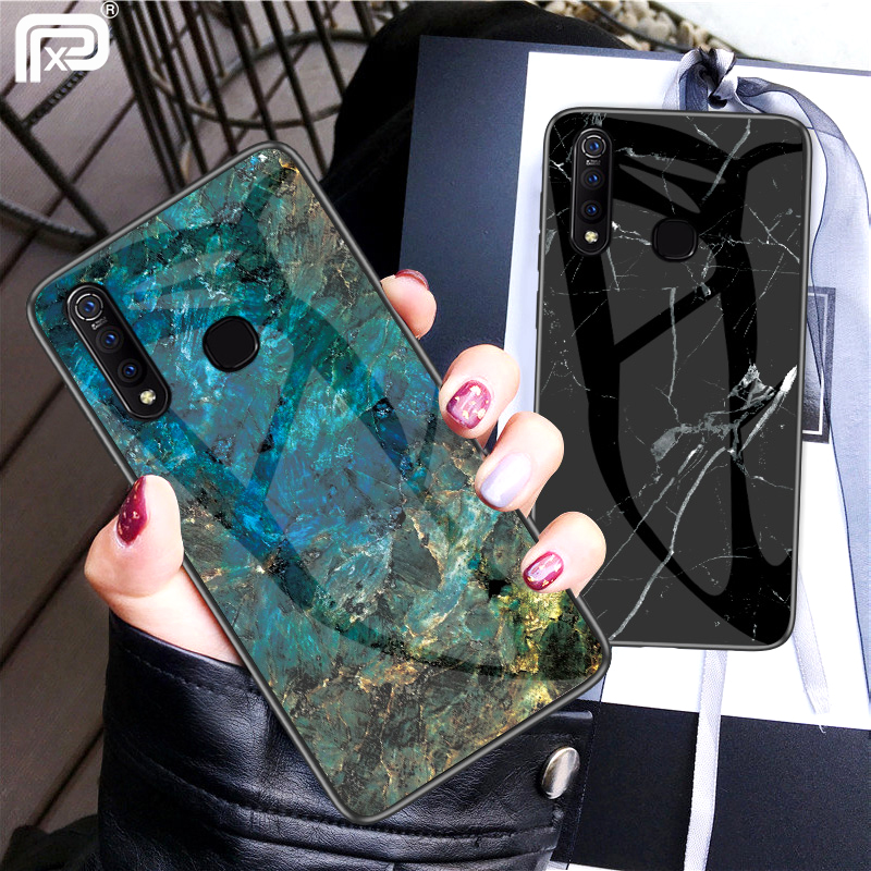 For VIVO Z1 Pro Case Marble Pattern Smooth Tempered Glass Back Cover For For VIVO Z1Pro Case Luxury Hard Shockproof Fundas