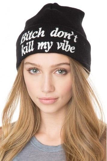 2015 nova Beanie cadela não matam minha vibração! De malha de algodão Hip Hop Skullies lã inverno chapéu dos homens / mulheres Spoirt tampas casuais para homens