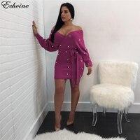 Echoine Lila Perlen Accent Weg Schulter Bodycon Kleid Sexy V-ausschnitt Backless Long Sleeves Schärpen Mini Club Party Kleider 2018