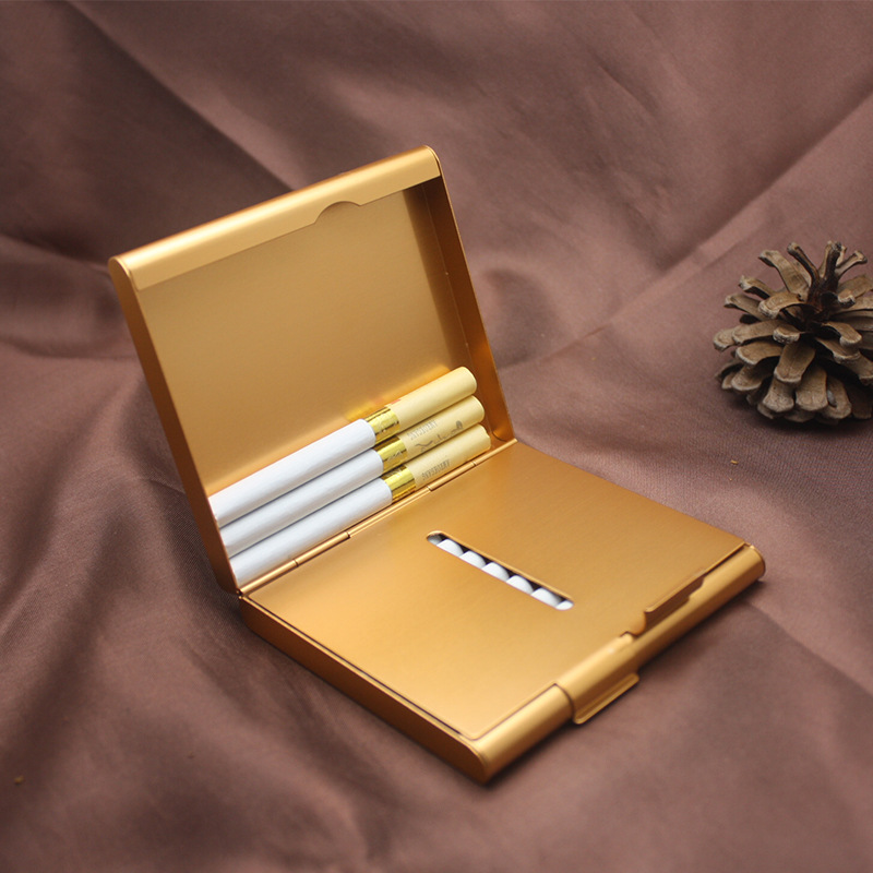 Double Open Aluminum Cigarette Case Cigar Box Tobacco Holder Metal Pocket Storage Container Smoking Cigarette Accessories-in Cigarette Accessories from Home & Garden